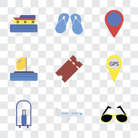 Set Of 9 simple transparency icons such as Sunglasses, Airplane, Bellhop, Gps, Tickets, Parasailing, Location, Flip flops, Cruise, can be used for mobile, pixel perfect vector icon pack on