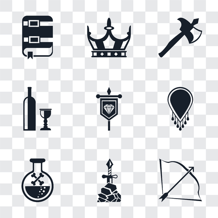 Set Of 9 simple transparency icons such as Bow and arrow, Excalibur, Poison, Necklace, Banner, Wine, Axe, Crown, Book, can be used for mobile, pixel perfect vector icon pack on transparent background Vettoriali