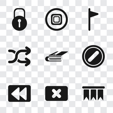 Set Of 9 simple transparency icons such as Bookmark, Close, Rewind, Forbidden, Notebook, Shuffle, Flag, Stop, Locked, can be used for mobile, pixel perfect vector icon pack on transparent background Ilustracja