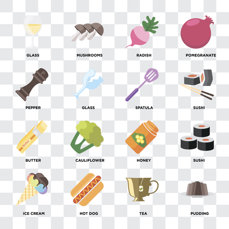 Set Of 16 icons such as Pudding, Tea, Hot dog, Ice cream, Sushi, Glass, Pepper, Butter, Spatula on transparent background, pixel perfect Çizim