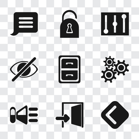 Set Of 9 simple transparency icons such as Back, Exit, Speaker, Settings, Archive, Hide, Controls, Locked, Notification, can be used for mobile, pixel perfect vector icon pack on transparent Illustration