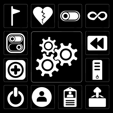 Set Of 13 simple editable icons such as Settings, Upload, Id card, User, Switch, Server, Add, Rewind, Switch on black background