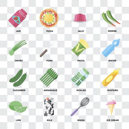 Ensemble de 16 icônes telles que crème glacée, fouet, lait, citron vert, moutarde, confiture, ciboulette, concombre, pâtes sur fond transparent, pixel parfait Vecteurs