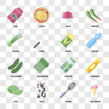 Set Of 16 icons such as Ice cream, Whisk, Milk, Lime, Mustard, Jam, Chives, Cucumber, Pasta on transparent background, pixel perfect Çizim