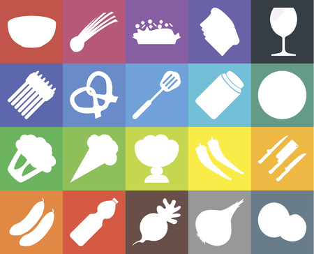 Set Of 20 icons such as Coconut, Onion, Radish, Water, Cucumber, Glass, Knives, Ice cream, Cauliflower, Pretzel, Pickles, Bowl, Pizza, Risotto, web UI editable icon pack, pixel perfect Ilustração