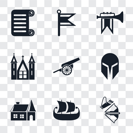 Set Of 9 simple transparency icons such as Crossbow, Ship, House, Helmet, Cannon, Church, Fanfare, Flag, Scroll, can be used for mobile, pixel perfect vector icon pack on transparent background