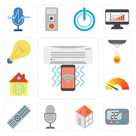 Set Of 13 simple editable icons such as Air conditioner, Thermostat, Home, Voice control, Remote, Meter, Sensor, Light, web ui icon pack Illustration