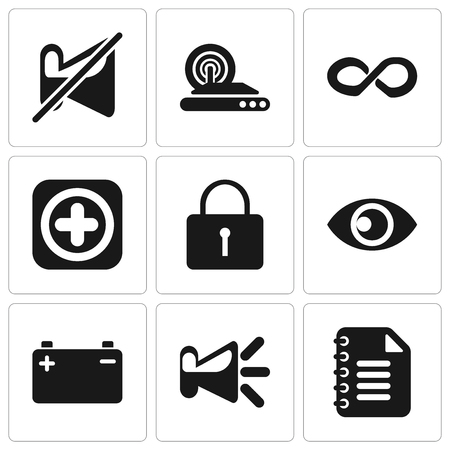 Set Of 9 simple editable icons such as Notepad, Speaker, Battery, View, Locked, Add, Infinity, Wireless internet, Muted, can be used for mobile, pixel perfect vector icon pack