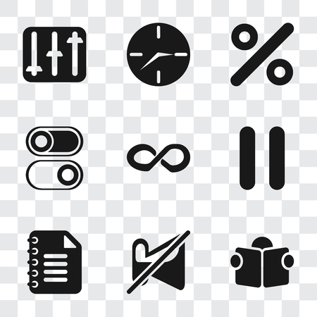 Set Of 9 simple transparency icons such as Reading, Muted, Notepad, Pause, Infinity, Switch, Percent, Clock, Controls, can be used for mobile, pixel perfect vector icon pack on transparent background