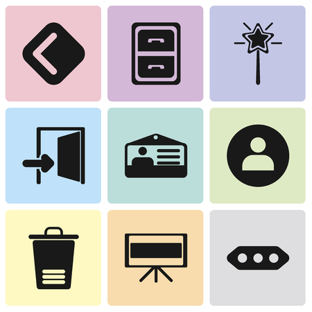 Set Of 9 simple editable icons such as More, Television, Trash, User, Id card, Exit, Magic wand, Archive, Back, can be used for mobile, pixel perfect vector icon pack