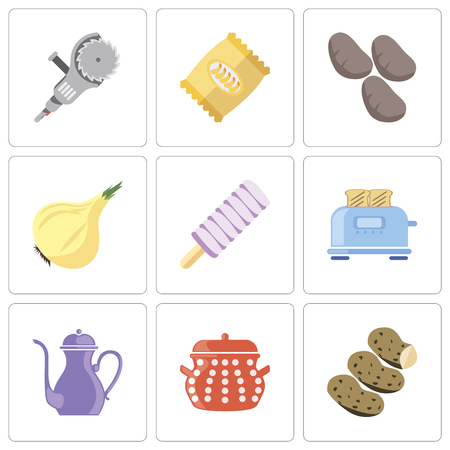 Set Of 9 simple editable icons such as Potatoes, Pot, Teapot, Toaster, Ice cream, Onion, Chips, Grinder, can be used for mobile, pixel perfect vector icon pack Ilustração