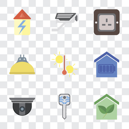 Set Of 9 simple transparency icons such as Smart home, key, Security camera, Temperature, Lightbulb, Plug, Cctv, Home, can be used for mobile, pixel perfect vector icon pack on Illustration