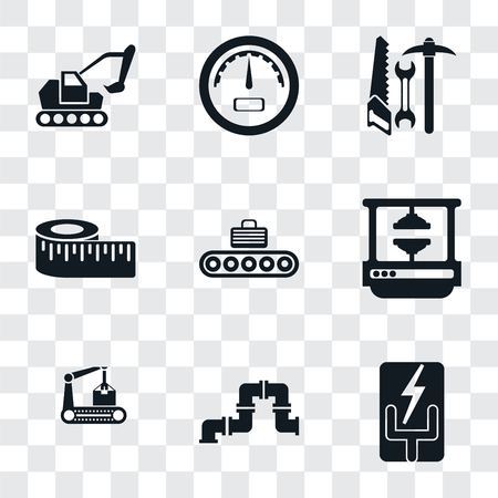 Set Of 9 simple transparency icons such as Electricity, Pipe, Conveyor, Machine press, Measure, Tools, Gauge, Excavator, can be used for mobile, pixel perfect vector icon pack on Illustration