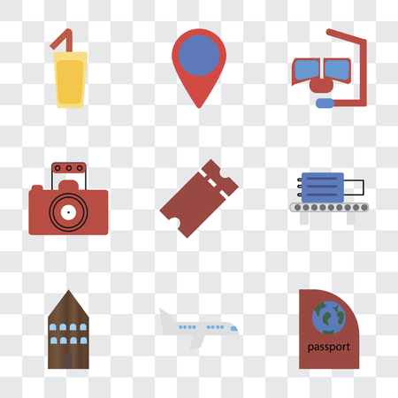 Set Of 9 simple transparency icons such as Passport, Airplane, Hotel, Check out, Tickets, Photography, Snorkel, Location, Cocktail, can be used for mobile, pixel perfect vector icon pack on