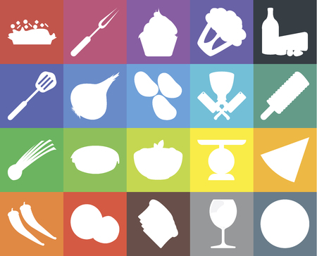 Set Of 20 icons such as Pizza, Glass, Toast, Coconut, Pepper, Dairy, Pasta, Chives, Onion, Butcher, Risotto, Ice cream, Cupcake, web UI editable icon pack, pixel perfect
