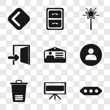Set Of 9 simple transparency icons such as More, Television, Trash, User, Id card, Exit, Magic wand, Archive, Back, can be used for mobile, pixel perfect vector icon pack on transparent background