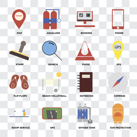 Set Of 16 icons such as Sun protection, Oxygen tank, Gps, Room service, Compass, Map, Stamp, Flip flops, Purse on transparent background, pixel perfect