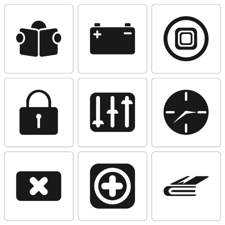 Set Of 9 simple editable icons such as Notebook, Add, Close, Clock, Controls, Locked, Stop, Battery, Reading, can be used for mobile, pixel perfect vector icon pack