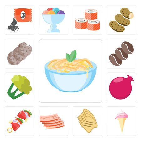Set Of 13 simple editable icons such as Pasta, Ice cream, Toast, Bacon, Kebab, Pomegranate, Cauliflower, Coffee, Cookies, web ui icon pack