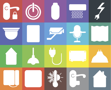 Set Of 20 icons such as Home, Handle, Thermostat, Plug, Dial, Power, Lightbulb, Intercom, Voice control, Deep, web UI editable icon pack, pixel perfect Illustration