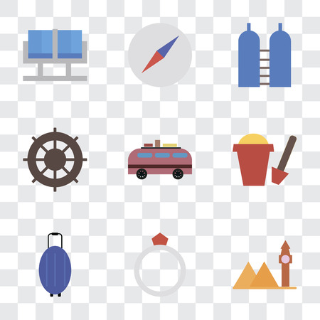 Set Of 9 simple transparency icons such as Landmark, Ring, Luggage, Sand bucket, Minivan, Helm, Oxygen, Compass, Waiting room, can be used for mobile, pixel perfect vector icon pack on transparent 写真素材 - 111924427