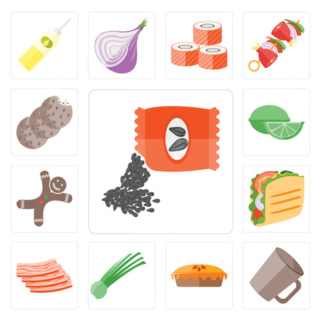 Set Of 13 simple editable icons such as Seeds, Mug, Pie, Chives, Bacon, Taco, Gingerbread, Lime, Cookies, web ui icon pack Banco de Imagens - 111924428