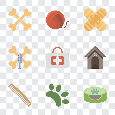 Set Of 9 simple transparency icons such as Pet bed, Animal, Comb, Kennel, First aid, Treats, Band Yarn, Bones, can be used for mobile, pixel perfect vector icon pack on transparent background Illustration
