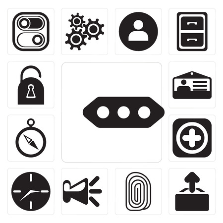 Set Of 13 simple editable icons such as More, Upload, Fingerprint, Speaker, Clock, Add, Compass, Id card, Locked, web ui icon pack