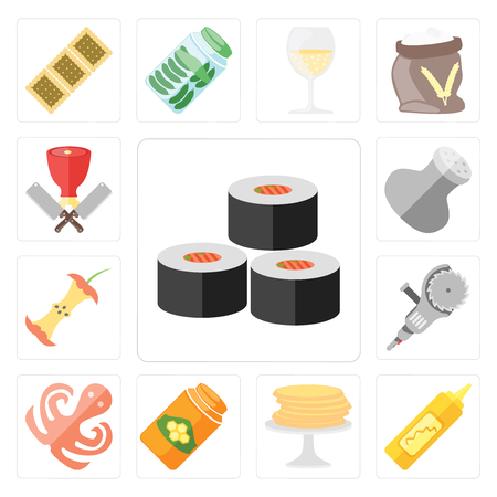 Set Of 13 simple editable icons such as Sushi, Mustard, Pancakes, Honey, Octopus, Grinder, Apple, Salt, Butcher, web ui icon pack