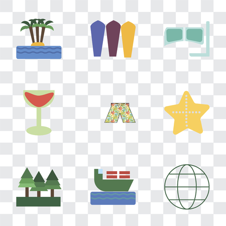 Set Of 9 simple transparency icons such as Globe, Ship, Forest, Starfish, Swimsuit, Cocktail, Snorkel, Surfing, Island, can be used for mobile, pixel perfect vector icon pack on transparent