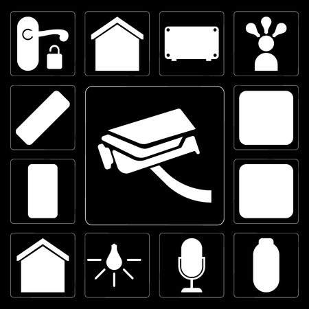 Set Of 13 simple editable icons such as Security camera, Power, Voice control, Light, Smart home, Dimmer, Mobile phone, Plug, Remote on black background