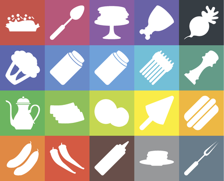 Set Of 20 icons such as Fork, Pancakes, Mustard, Pepper, Cucumber, Radish, Hot dog, Coconut, Teapot, Pickles, Asparagus, Risotto, web UI editable icon pack, pixel perfect