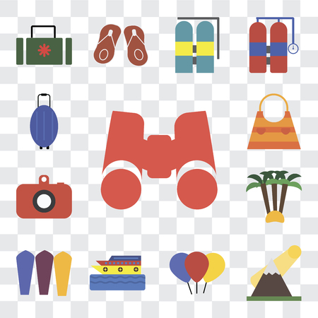 Set Of 13 transparent editable icons such as Binoculars, Mountains, Balloon, Cruise, Surfing, Palm tree, Camera, Bag, Luggage, web ui icon pack, transparency set Illustration