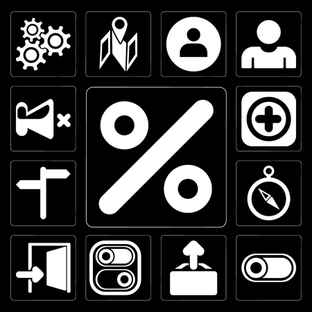Set Of 13 simple editable icons such as Percent, Switch, Upload, Exit, Compass, , Add, Mute on black background Illustration