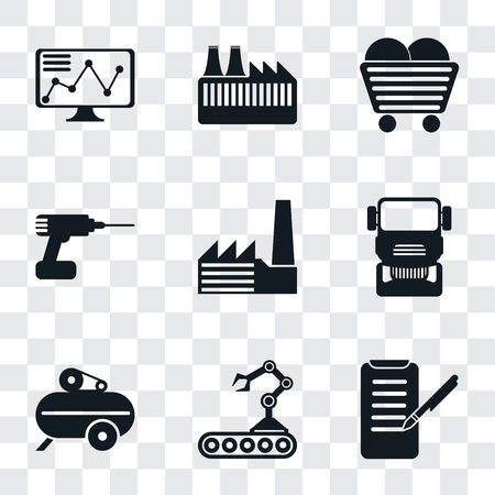 Set Of 9 simple transparency icons such as Planing, Conveyor, Compressor, Truck, Factory, Drill, Coal, Stock, can be used for mobile, pixel perfect vector icon pack on transparent background Foto de archivo - 111924441