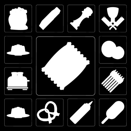 Set Of 13 simple editable icons such as Chips, Ice cream, Mustard, Pretzel, Pudding, Asparagus, Toaster, Coconut, Jelly on black background Illustration