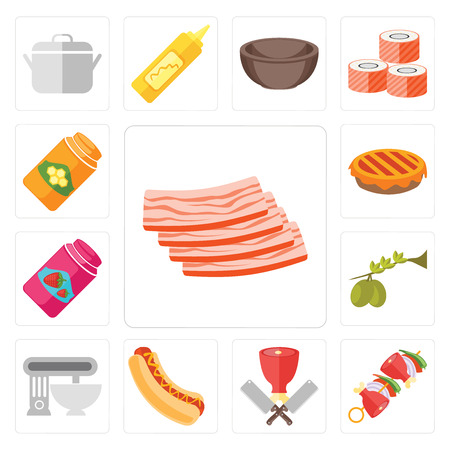 Set Of 13 simple editable icons such as Bacon, Kebab, Butcher, Hot dog, Mixer, Olives, Jam, Pie, Honey, web ui icon pack