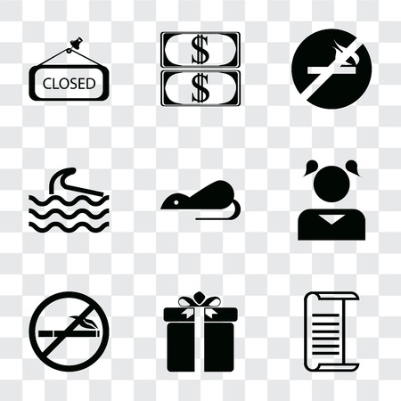 Set Of 9 simple transparency icons such as List, Gift, No smoking, Girl, Rats, Wave, Money, Closed, can be used for mobile, pixel perfect vector icon pack on transparent background Banco de Imagens - 111924446