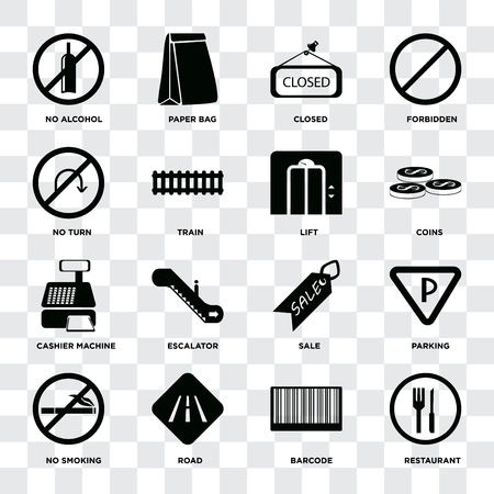Set Of 16 icons such as Restaurant, Barcode, Road, No smoking, Parking, alcohol, turn, Cashier machine, Lift on transparent background, pixel perfect Illustration
