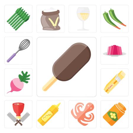 Satz von 13 einfach bearbeitbaren Symbolen wie Eis, Honig, Oktopus, Senf, Metzger, Butter, Rettich, Gelee, Schneebesen, Web-UI-Icon-Pack Vektorgrafik