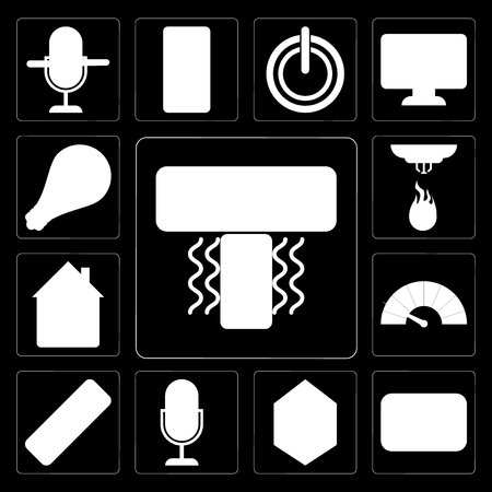 Set Of 13 simple editable icons such as Air conditioner, Thermostat, Home, Voice control, Remote, Meter, Sensor, Light on black background