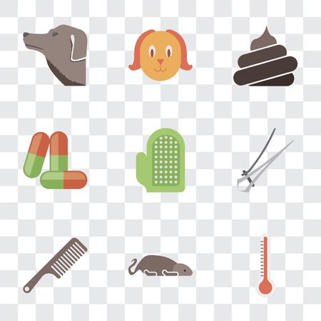 Set Of 9 simple transparency icons such as Thermometer, Mouse, Comb, Nail trimmer, Glove, Drugs, Poop, Dog, can be used for mobile, pixel perfect vector icon pack on transparent background