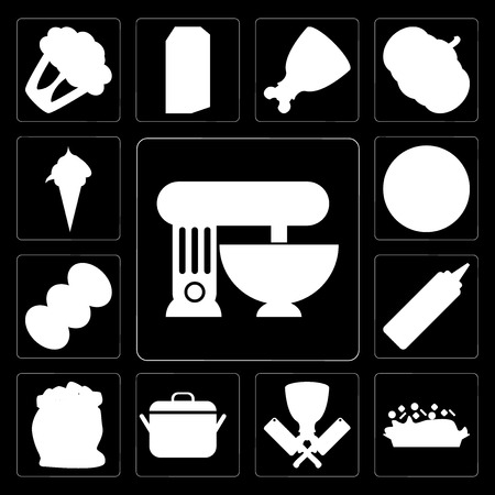 Set Of 13 simple editable icons such as Mixer, Risotto, Butcher, Pot, Flour, Mustard, Coffee, Pizza, Ice cream on black background