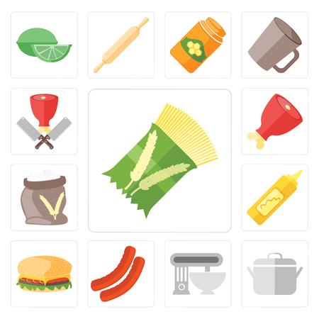 Set Of 13 simple editable icons such as Pasta, Pot, Mixer, Sausage, Hamburguer, Mustard, Flour, Ham, Butcher, web ui icon pack  イラスト・ベクター素材