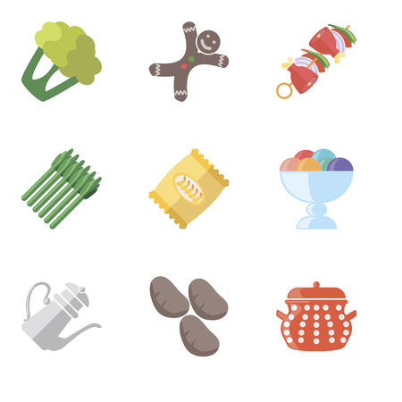 Set Of 9 simple editable icons such as Pot, Potatoes, Teapot, Ice cream, Chips, Asparagus, Kebab, Gingerbread, Cauliflower, can be used for mobile, pixel perfect vector icon pack Ilustração