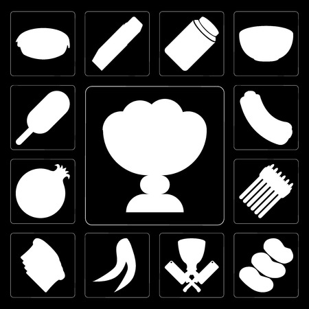 Set Of 13 simple editable icons such as Ice cream, Potatoes, Butcher, Peas, Toast, Asparagus, Pomegranate, Hot dog, cream on black background