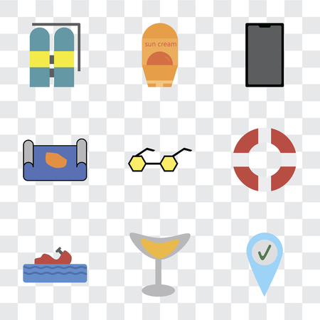 Set Of 9 simple transparency icons such as Check in, Cocktail, Water craft, Lifebuoy, Sunglasses, Map, Phone, Sun protection, Aqualung, can be used for mobile, pixel perfect vector icon pack on