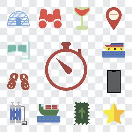Set Of 13 transparent editable icons such as Time, Star, Postage, Ship, Oxygen tank, Phone, Flip flops, Cruise, Snorkel, web ui icon pack, transparency set