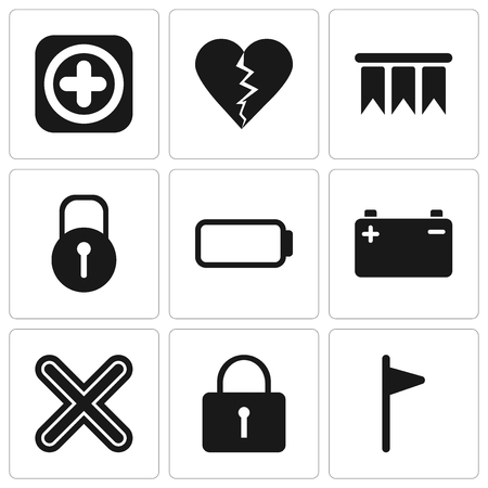 Set Of 9 simple editable icons such as Flag, Locked, Multiply, Battery, Bookmark, Dislike, Add, can be used for mobile, pixel perfect vector icon pack