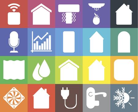 Set di 20 icone come riscaldamento, maniglia, spina, casa, dispositivo di raffreddamento, misuratore, casa intelligente, profondo, grafico, presa, porta, condizionatore d'aria, pacchetto di icone modificabile dall'interfaccia utente web, pixel perfetto